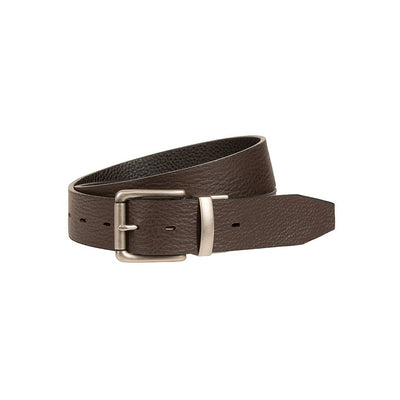 Glen Reversible Leather Belt Brown Side Out with Silver Buckle