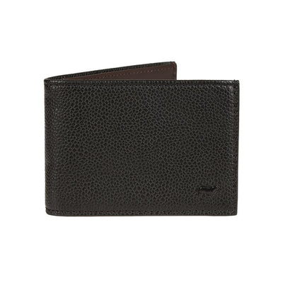 Pebble Slim Fold Wallet Black with Small Embossed Cow Icon