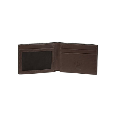 Pebble Slim Fold Wallet Black Open Brown Interior Two Tone