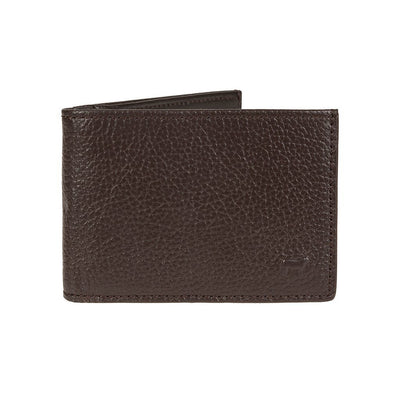 Pebble Slim Fold Wallet Brown with Small Embossed Cow in Corner