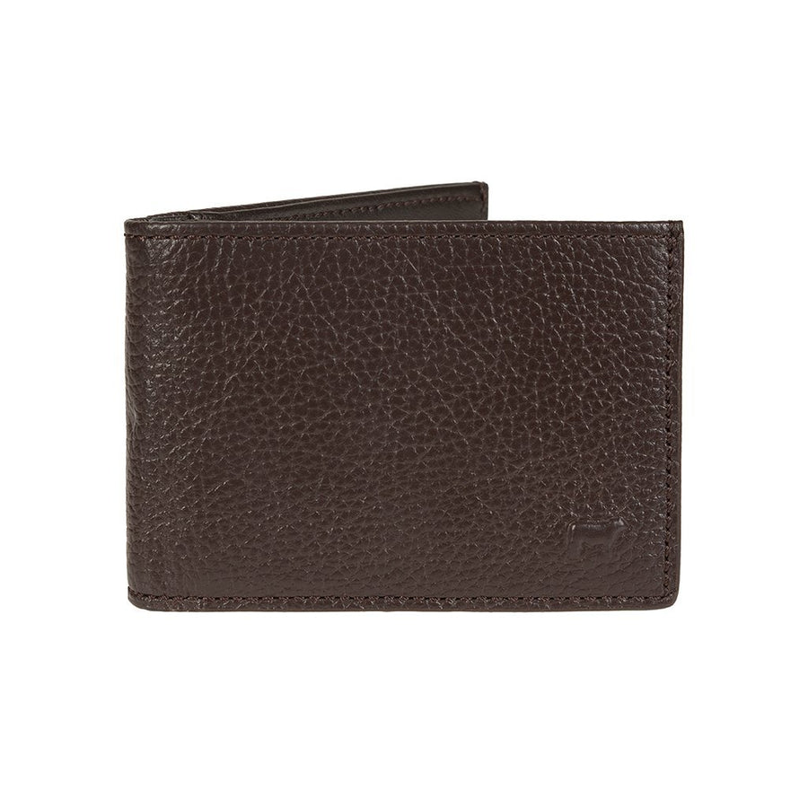 Pebble Slim Fold Wallet Tan  with Embossed Cow Icon in Corner
