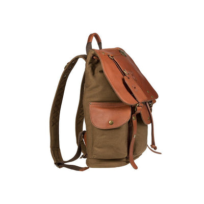 Side cargo pocket of UO Lennon backpack with cognac leather flap