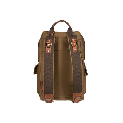 Green reinforced canvas straps of U of O Lennon Backpack