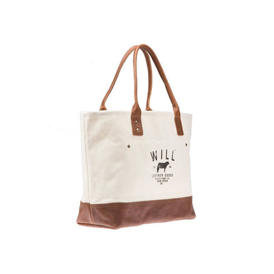 Utility Tote Natural with leather bottom