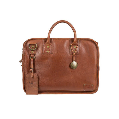 Front of Hank Satchel in Cognac Leather with Connected Luggage Tag