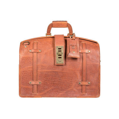 Cognac The Counsel Bag Italian Leather Brass Hardware Riri Zipper