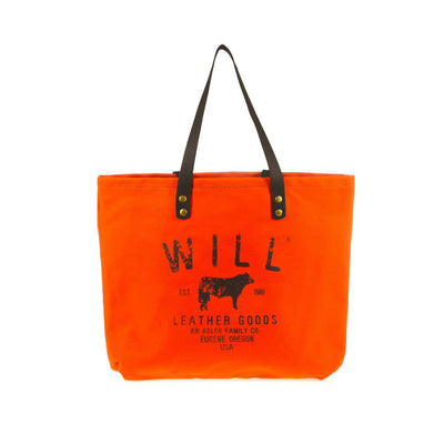 Farmer's Market Tote Tote WillLeatherGoods Neon Orange, Black Straps