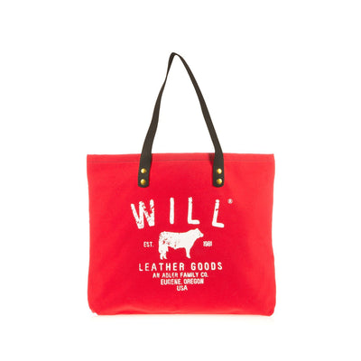 Farmer's Market Tote Tote WillLeatherGoods Red, Black Handles