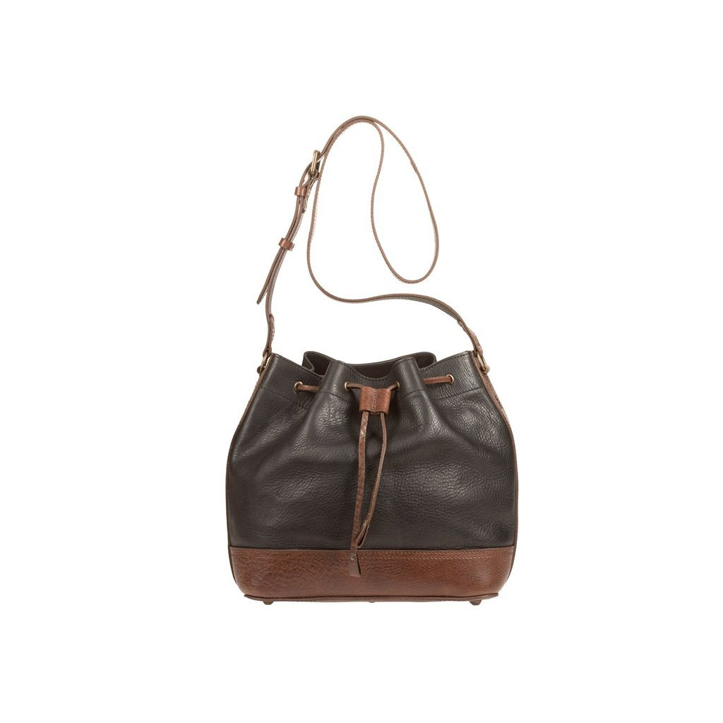 black and brown astoria drawstring bucket