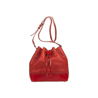 Astoria Drawstring Bucket Bag Red Leather