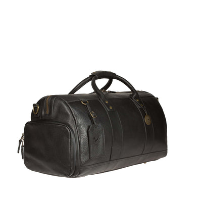 Black Leather Atticus Duffle Shoe Compartment