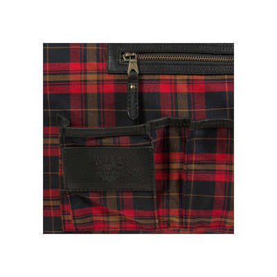 Leather Atticus Duffle Plaid Interior Business Card Holder and Zip Pocket