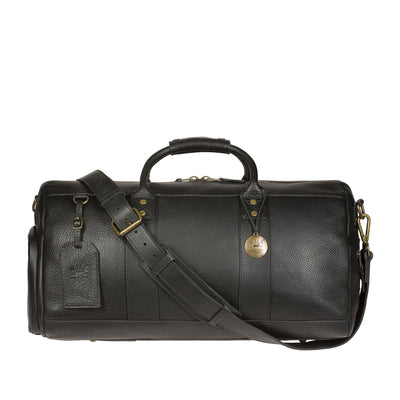 Leather Atticus Duffle in Black With Leather Cross Body Strap