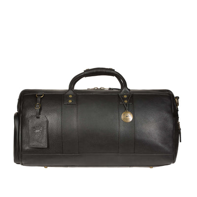 Leather Atticus Duffle Black with Luggage Tag and Metal Charm
