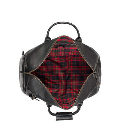 Open Top Showing Plaid Lining of Black Leather Atticus Duffle