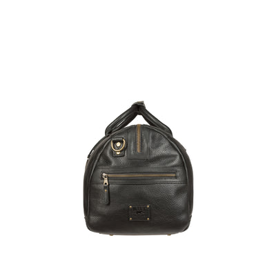 Side Exterior Zip Pocket of Black Leather Atticus Duffle