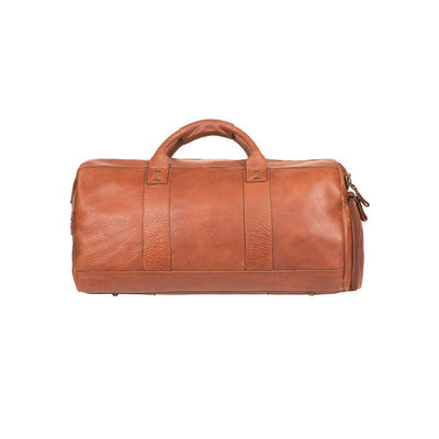Cognac Leather Atticus Duffle Bag with Two Top handles