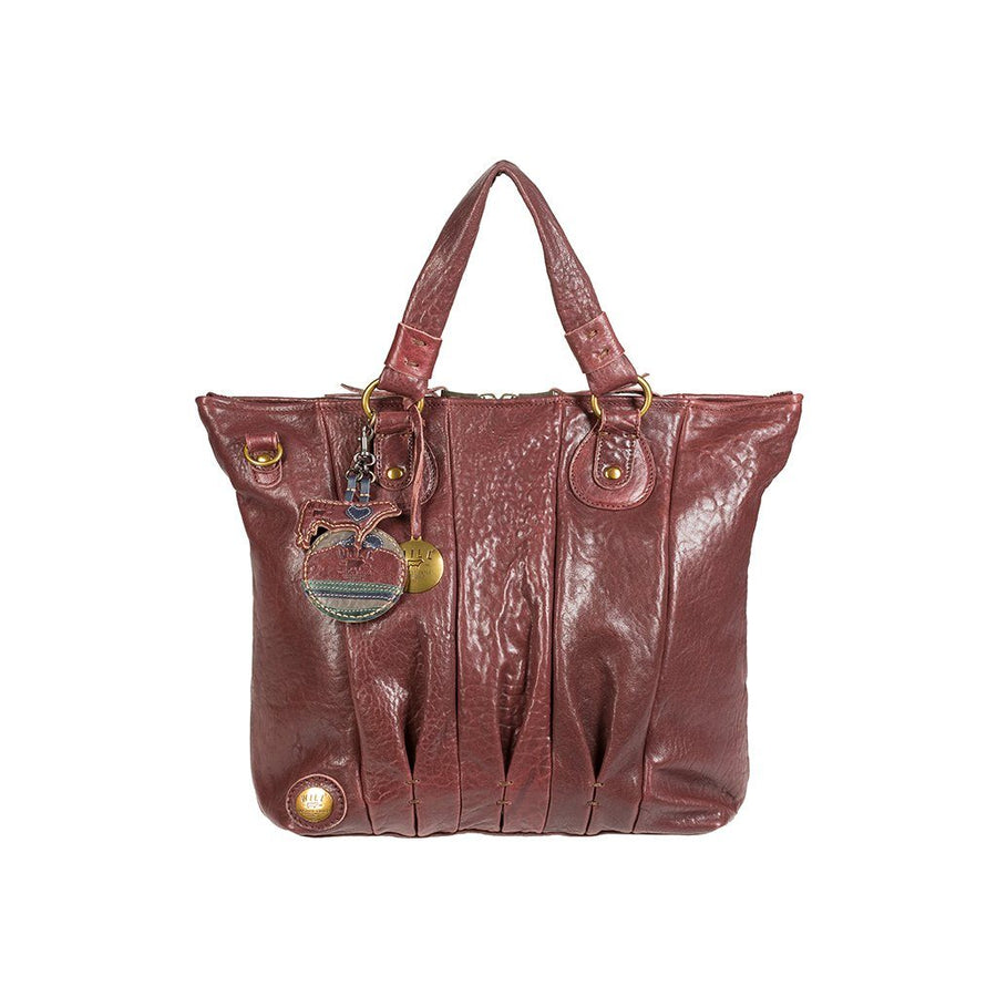 Her Top Zip Satchel Cognac