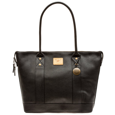 Twenty Four Seven Leather Tote Tote WillLeatherGoods Black