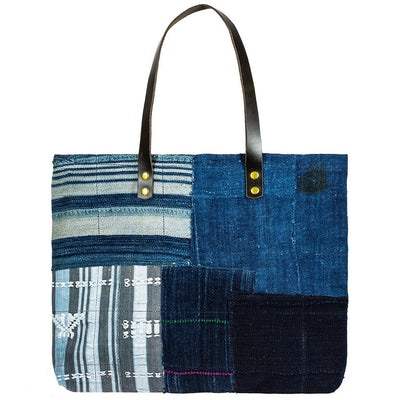 African Indigo Leather Patchwork Tote