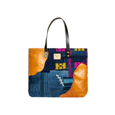 African Indigo Leather Patchwork Tote Tote WillLeatherGoods 8