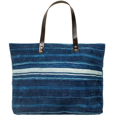 African Indigo Patchwork Tote Tote WillLeatherGoods