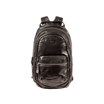 All Weather Leather Front Zip Pocket Backpack WillLeatherGoods Black