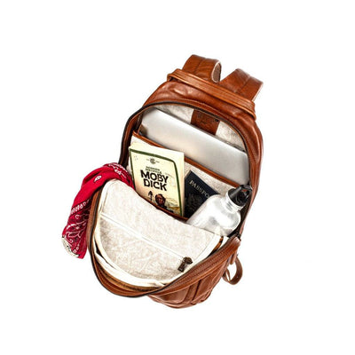 All Weather Leather Front Zip Pocket Backpack WillLeatherGoods
