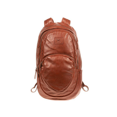 All Weather Leather Double Zip Front Pocket Backpack WillLeatherGoods Rust