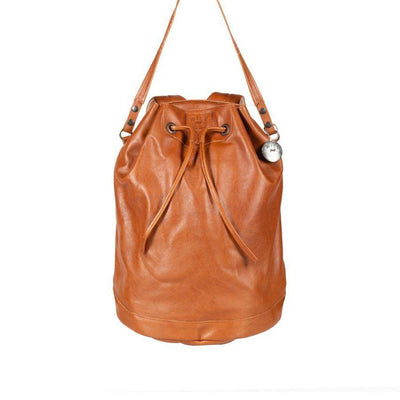 All Weather Leather Drawstring Backpack WillLeatherGoods Cognac
