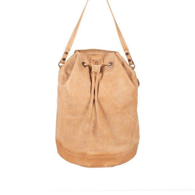 All Weather Leather Drawstring Backpack WillLeatherGoods Natural