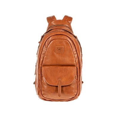 All Weather Leather Front Flap Pocket Backpack WillLeatherGoods Cognac