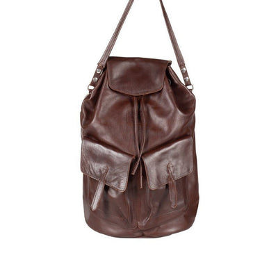 All Weather Leather with Double Pockets Backpack WillLeatherGoods Brown