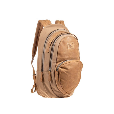 All Weather Canvas and Leather Double Zip Front Pocket Backpack WillLeatherGoods