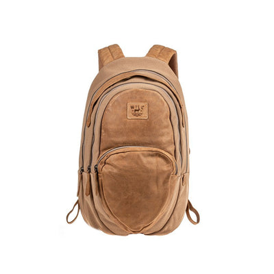 All Weather Canvas and Leather Double Zip Front Pocket Backpack WillLeatherGoods Natural