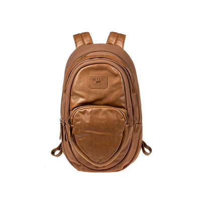 All Weather Canvas and Leather Double Zip Front Pocket Backpack WillLeatherGoods Tan