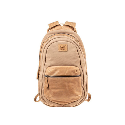 All Weather Canvas and Leather Front Zip Pocket Backpack WillLeatherGoods Natural
