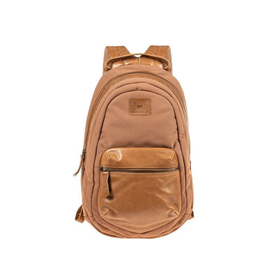 All Weather Canvas and Leather Front Zip Pocket Backpack WillLeatherGoods Tan