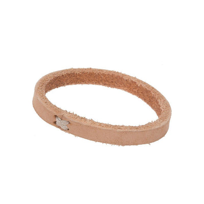 Natural Leather Cuff with Cross Stitch Closure