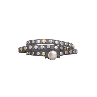 Triple Wrap Multi-Stud Cuff Cuff WillLeatherGoods Black One Size