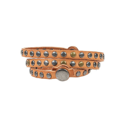 Triple Wrap Multi-Stud Cuff Cuff WillLeatherGoods Tan One Size
