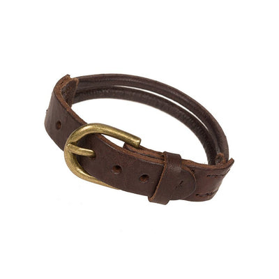 Brown Double Leather Band Cuff