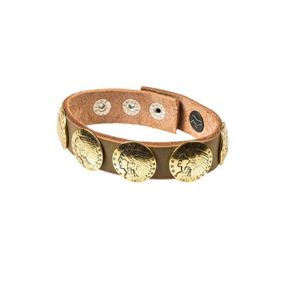 Buffalo Nickel Concho Cuff Cuff WillLeatherGoods Sage Brush/Gold