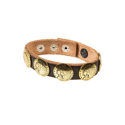 Buffalo Nickel Concho Cuff Cuff WillLeatherGoods Grey/Gold