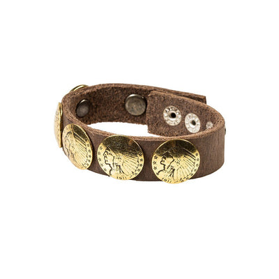 Buffalo Nickel Concho Cuff Cuff WillLeatherGoods Stone/Gold
