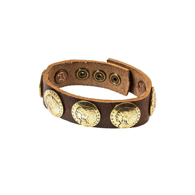 Buffalo Nickel Concho Cuff Cuff WillLeatherGoods Dark Brown/Gold