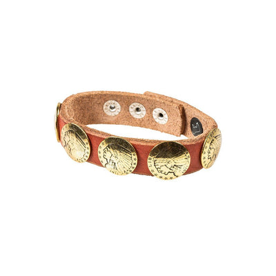 Buffalo Nickel Concho Cuff Cuff WillLeatherGoods Coral/Gold