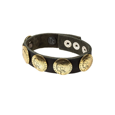 Buffalo Nickel Concho Cuff Cuff WillLeatherGoods Black/Gold
