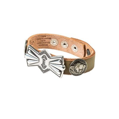 Buffalo Nickel and Bow Concho Cuff Cuff WillLeatherGoods Sage Brush