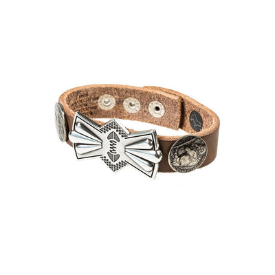 Buffalo Nickel and Bow Concho Cuff Cuff WillLeatherGoods Light Brown